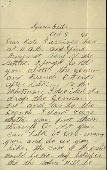 Letter, William Gleason to Kate Gleason Page 1
