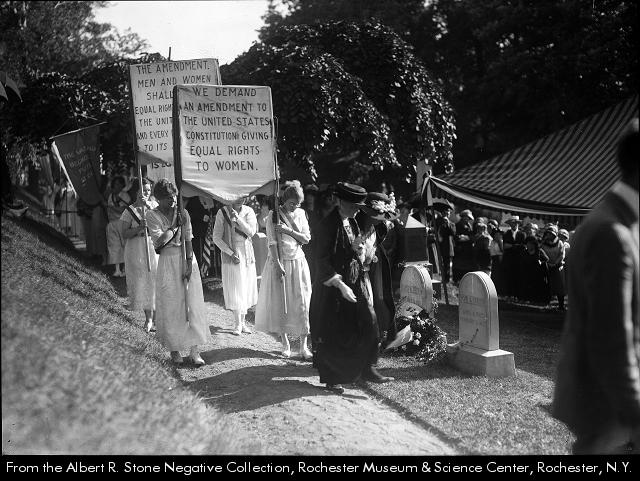 Albert R. Stone, Placard carrying members of the National Woman's Party visit Susan B. Anthony's grave