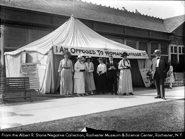 Albert R. Stone, Anti-suffragist tent with Mayor Edgerton