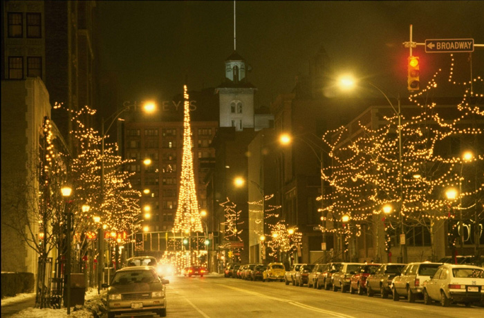 Holiday lights, East Avenue, Rochester, NY
