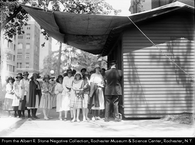 Albert R. Stone, Young women line up at the polling place