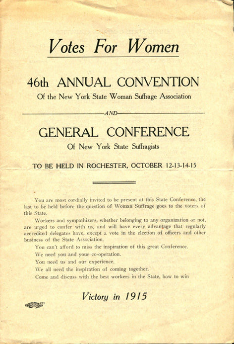 Program cover, Votes for Women: 46th Annual Convention of the New York State Woman Suffrage Association