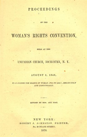 Amy Post, Proceedings of the Woman's Rights Convention, held at the Unitarian Church