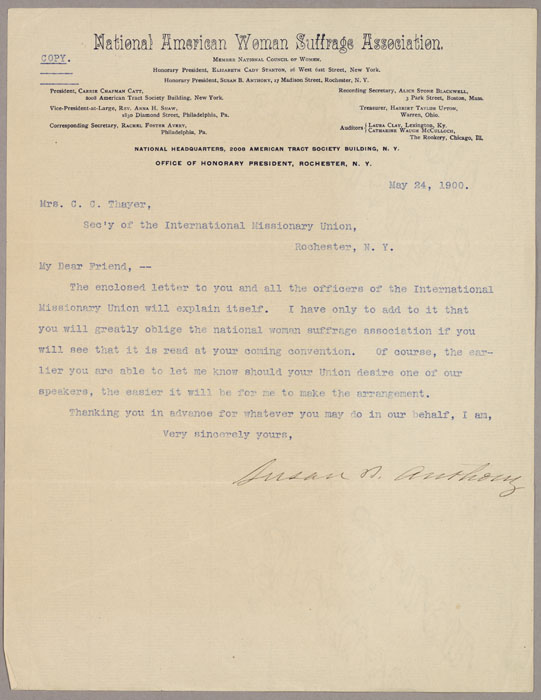 Letter, Susan B. Anthony to Mrs. C.C. Thayer