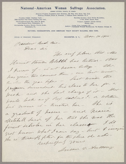 Letter, Susan B. Anthony to Rush Rhees