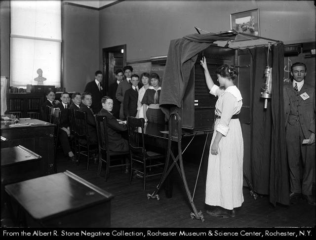 Albert R. Stone, Students using a voting machine