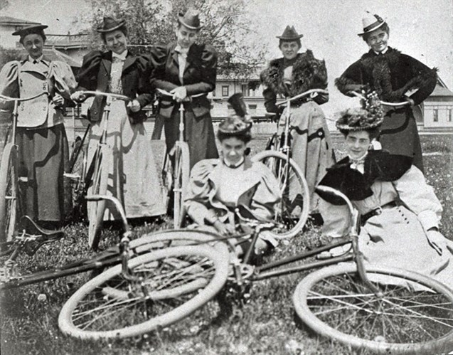 Turn of the century women bicyclists