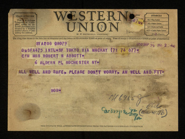 Telegram, Robert Abbott to Winona Abbott