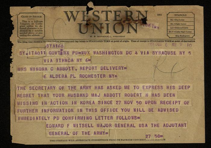 Telegram, General Edward Witsell to Winona Abbott