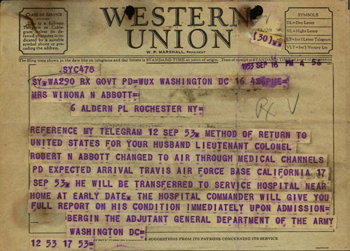 Telegram, Adjutant General William Bergin to Winona Abbott