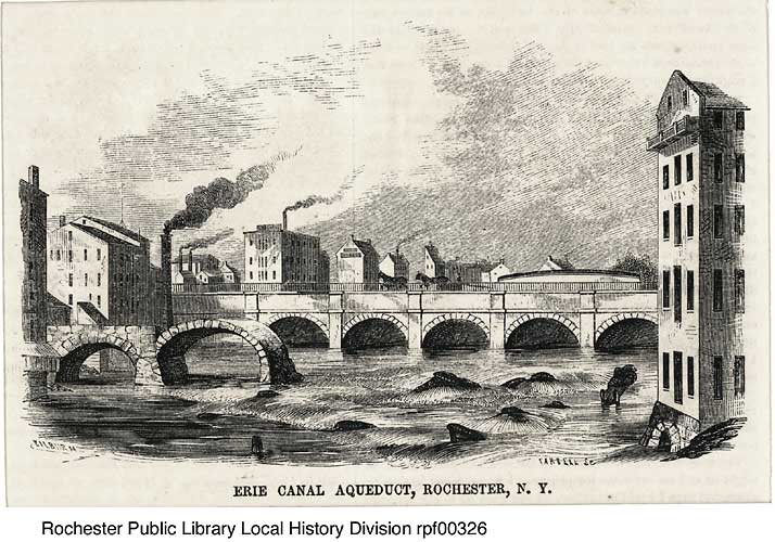 Engraving, second Erie Canal aqueduct, Rochester, NY