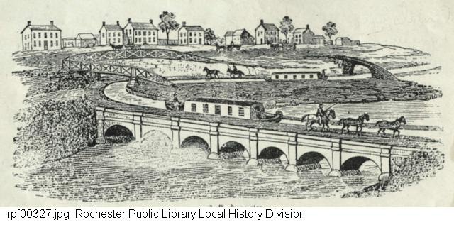 Engraving, plan of the first aqueduct carrying the Erie Canal over the Genesee River at Rochester, NY