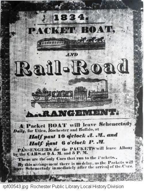 Broadside, packet boat and railroad schedule